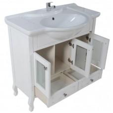 Тумба с раковиной АСБ Мебель Флоренция 105 (белый) витраж